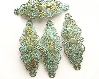 4 patina Filigree flowers. hand patina filigree Pendant charms for jewelry making. High quality pendant connectors Charms jewelry supplies