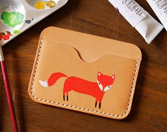 100% Handmade-stitched Vegetable Tanned Leather Lovely Fox Card Case Leather Flat Wallet