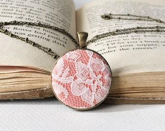 Coral lace necklace -  peach lace pendant - fabric pendant - coral Bridesmaids necklace - coral vintage necklace - salmon  lace pendant