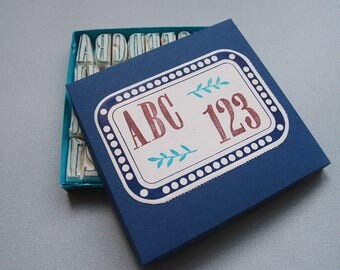 rubber stamp alphabet »bonheur« handcarved abc with numbers