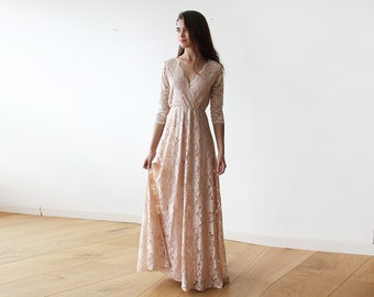 Pink blush long sleeves lace gown, Lace pink gown 1124