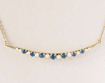 Antique Necklace - Antique 14k Yellow Gold Sapphire & Seed Pearl Necklace