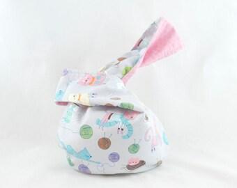 Japanese Knot Bag Short Handle Knitting Cats