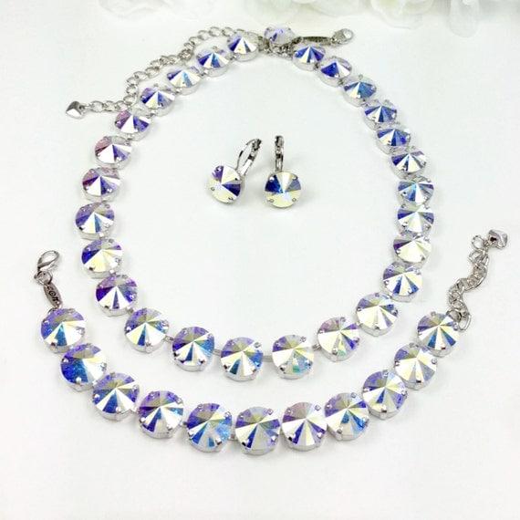 Swarovski Crystal 12MM Necklace, Bracelet, and Earrings  -  Designer Inspired -  Highly Iridescent  Aurora Borealis -  FREE SHIPPING