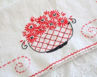 Vintage Cross-Stitched Cotton Table Runner, Farmhouse Decor