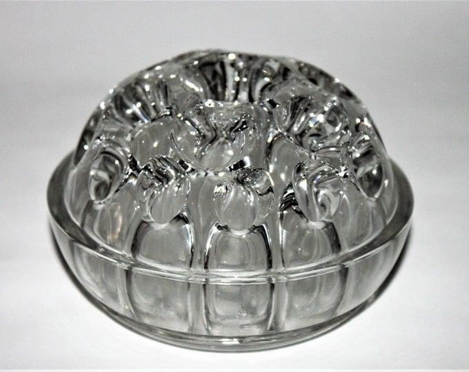 Vintage Mid-Century Round French Glass Flower Frog Vase Centerpiece