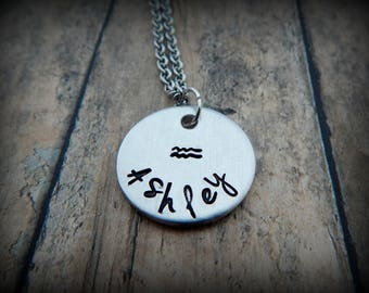 Zodiac Name Necklace - Custom Hand Stamped Aquarius Necklace - Astrology - Zodiac Characteristic - Zodiac Signs - Zodiac Months - kg2585