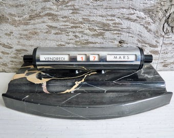 Vintage French PERPETUEL DESK CALENDAR, on a Black Marble Base. 1950s.