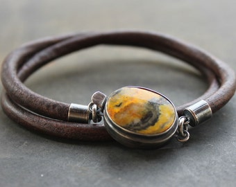 Mens Bracelet of Indonesian Eclipse Jasper sterling silver and Leather mens gift, masculine rustic jewelry trendy, mens leather bracelet