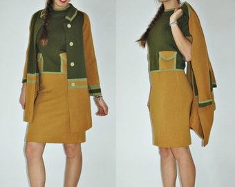 SHIPPING DELAY 1970s Mustard & Army Green Italian Wool Three Piece Knit High Waist Skirt Blouse Cardigan Jacket Set