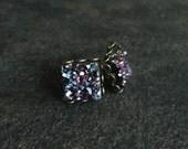 Magenta Druzy Cube Earrings, Square Druzy Stud Earrings, Druzy Earrings