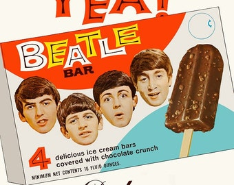 """Beatles 18 x 24 Inch Reproduction """"Beatle Bar"""" Ice Cream Bars Promotional Display Poster - Gift Poster Collectibles Collector Memorabilia"""