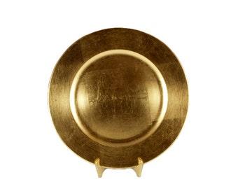 """Vintage Gold Plastic Chargers 13"""" //  Gold Leaf Melamine Gold Charger // Set of 12"""