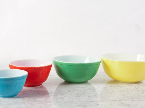 Pyrex Primary Color Bowls Full Set Pyrex Mixing Bowls