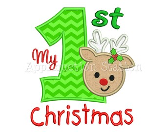My First Christmas Reindeer Applique Machine Embroidery Design Boy Girl 1st Christmas Holiday INSTANT DOWNLOAD