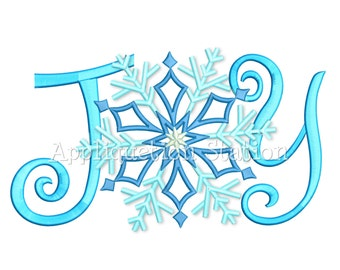 JOY Snowflake Machine Embroidery Design  Christmas Holiday Winter Snow INSTANT DOWNLOAD