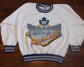 Toronto Maple Leafs sweatshirt vtg 1991 NHL hockey crewneck shirt white small