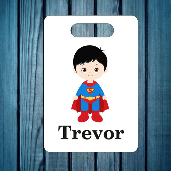 Backpack tag, super hero bag tag, custom tag, personalized tag, lunch box tag, kids luggage tag, diaper bag tag, tag, bags and purses tag,