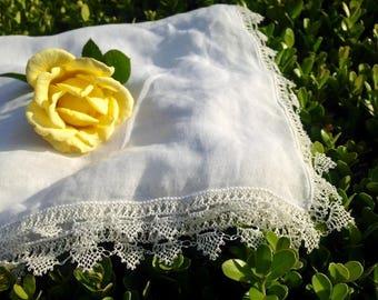 Antique French Handmade Batiste Kerchief Scarf