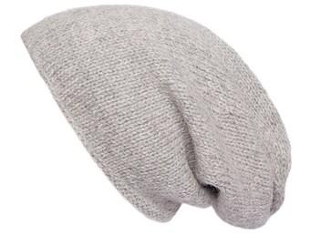 Grey Alpaca Slouchy beanie, hand knitted, 8 colours