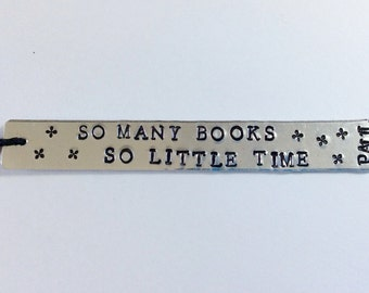 Metal Stamped Personalised Bookmark, so many books wo little time, bookmark