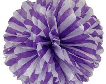 1 LARGE-striped purple and white  Pom Pom kit- tissue paper poms // diy // wedding decoration // baby shower // party decor