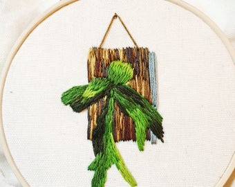Staghorn Fern Wall Hanging Embroidery, Botanical Home Decor, Plant Lover, Hand Embroidered Hoop Art