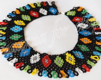 Ukrainian Black beaded necklace with color diamonds