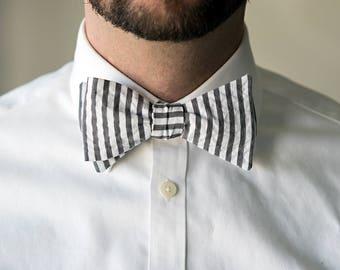 Self-Tie Grey Seersucker Tie, Untied Freestyle Bowties Bow Ties Necktie Men Tuxedo Wedding Formal Gray