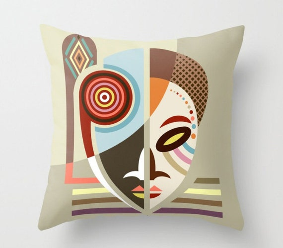African Mask Throw Pillow, African Pillows, African Home Decor, African Print, African Gifts, African Design, Urban African