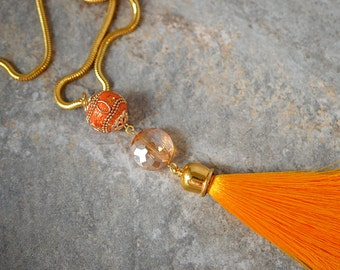 Boho tassel necklace Gypsy necklace Chunky orange bead and Silk tassel pendant on gold chain Colorful summer Bohemian jewelry for her