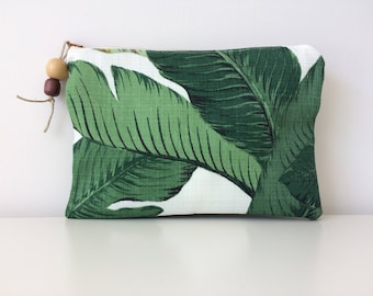 Tommy Bahama Pouch - Swaying Palms - Cosmetics Accessories Makeup Bag - Large Travel Pouch - Clutch Purse - Green Leaf Fabric - Tablet Case
