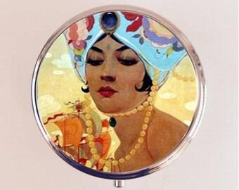 Flapper Turban Pill Box Case Pillbox Holder Stash Trinket Box Art Deco 1920s 20s Jazz Age