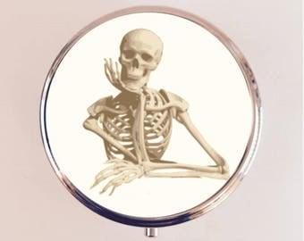 Skeleton Thinking Pill Box Case Pillbox Holder Stash Trinket Box Goth Gothic Macabre