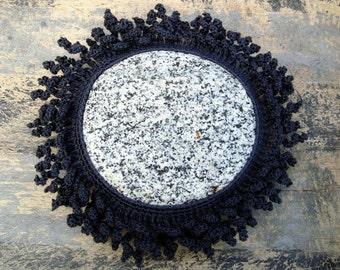 Lace Stone Sea Creature, Dark Smoke Grey Color Cotton Thread, Unique Gift, Collectible Fiber Art, Unique Freeform Crochet