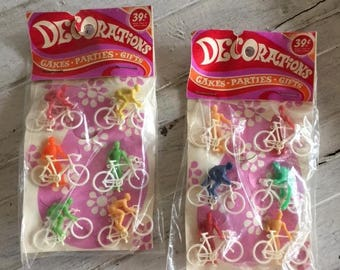 Mod Era Cake Decorations, Vintage Cupcake Toppers, Bicyclists, Guys on Bikes, Cake Decorating Supplies, Party Favors