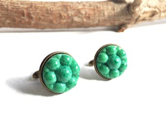 Fabulous Vintage 1970s Multi Domed Marbled Green Glass Cuff Links