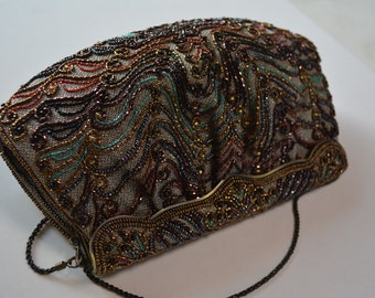 Beaded handbag, 1970s vintage Japanese, evening purse by Hashimoto