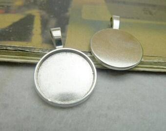 20pcs Zinc Alloy Antique Silver Cabochons Settings Cameo Base Pendant, Round Cabochon Pendant Base, lacework findings