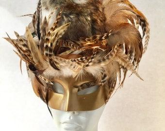 Owl Mask- Bird Mask- Mardi Gras Mask-  Masquerade Mask- Feather Mask- Halloween - Bird costume -Owl Costume -Gold Mask- Party Mask
