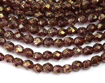 Amethyst Stone Copper Picasso Czech Glass Beads, 6mm Faceted Round - 50 pcs - eCTS2006-6