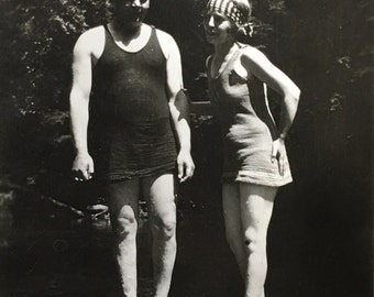 Flapper Bathing Beauty & Hubby Antique Found Photo
