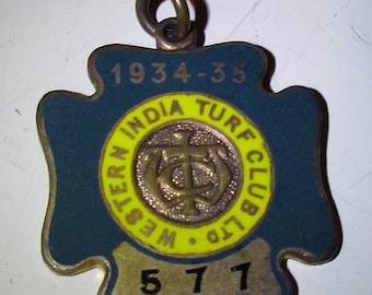 Western INDIA TURF CLUB Membership Badge- 1934/35 - Number 577