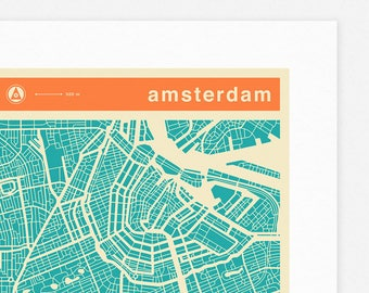 AMSTERDAM MAP (Giclée Fine Art Print, Photographic Print or Poster Print) colored version
