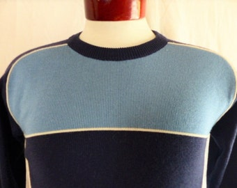 vintage 70's 80's White Stag Actionsports color block navy blue light blue rib knit ski sweater raglan sleeve white piping pullover jumper