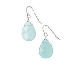 Blue Calcedony Drop Sterling Silver Handmade Earrings
