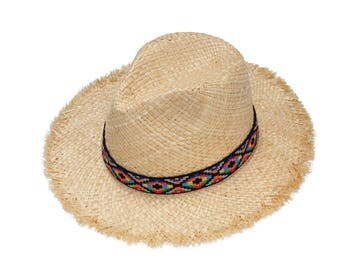 Summer straw hat with ethnic grosgrain band  ,Fedora sun hat , beach hat , straw hat , womens straw hat