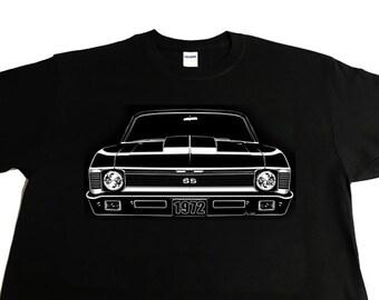 Car Grille Art Tee shirt, T-Shirt, 1972 Chevy Nova SS Cowl Hood.