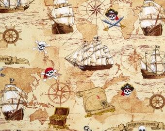 Fat Quarter Pirates Treasure Map, Olde Worlde 100% Cotton Quilting Fabric C4825