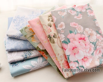 "92"" 96"" Wide Cotton, Shabby Chic Flower Cotton Fabric,  Large Flower Quilting Cotton Fabric - 1/2 yard"